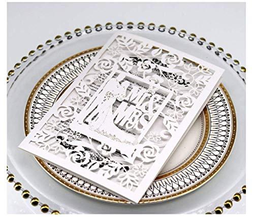 10PCS Mr & Ms White Laser Cut Wedding Invitations Cards Wedding Birthday Engagement Greeting Tksmart from Unknown