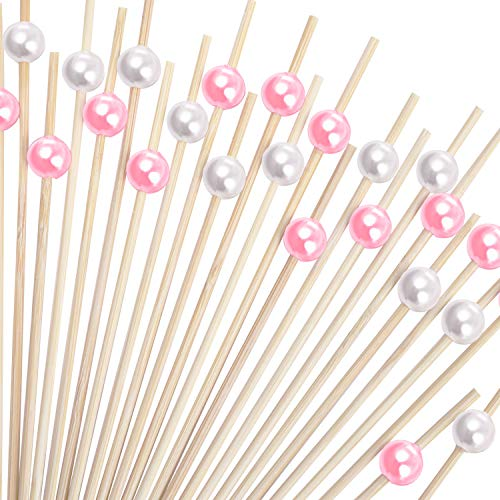 (Blulu 200 Pieces Cocktail Picks 4.7 Inch Fruit Sticks Pearl Bamboo Toothpicks for Wedding Birthday Party Supplies (White and)