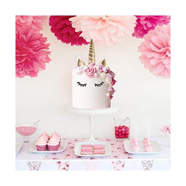 Unicorn Cake Topper with Eyelashes | Handmade Unicorn Cake Decorations, Gold Unicorn Horn, Ears, 2 Sets of Unicorn… 8