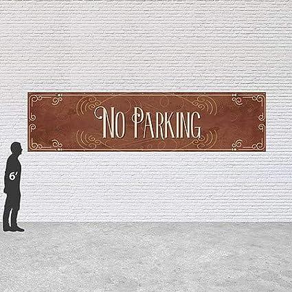 16x4 No Parking Victorian Card Heavy-Duty Outdoor Vinyl Banner CGSignLab