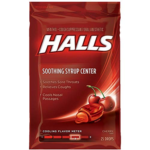 Halls Soothing Syrup Center Cherry Flavor Menthol Drops 25 ea (Pack of 6)