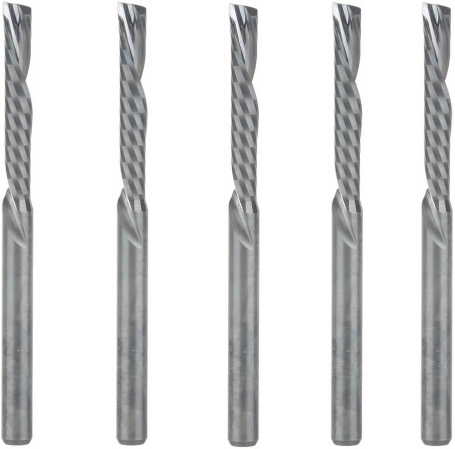 HOZLY 3.175X22mm Down Cut Left-handed 1 Flute End Mill Carbide Cutting Tools Bits On Clean Machining Acrylic//Woodworking Pack of 5