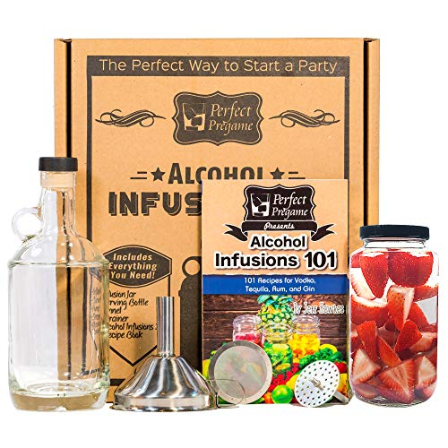 Perfect Pregame Alcohol Infusion Kit - Make Your Own Homemade Liquor Infusions Gift Set - Recipes for Vodka Tequila Rum and Gin Infusions - Great Gift Set