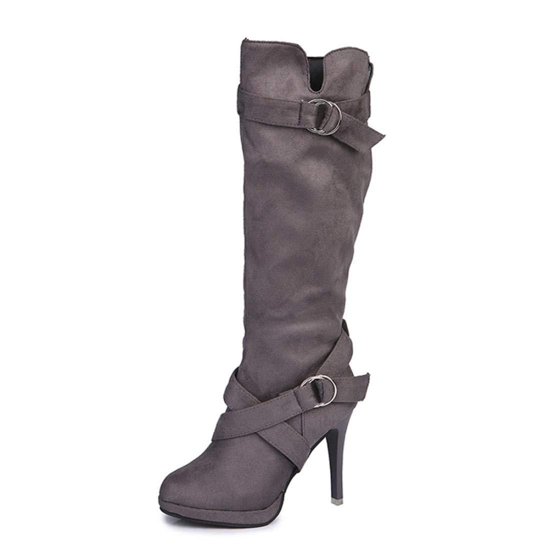 Tootu Women Buckle Roman Platform High Heels Knee Boots Martin Long Boots