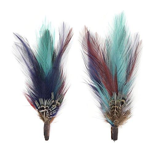 (ZUCKER Pheasant Hackle Feather Hat Trims - Copper - Dark Aqua - Plum- Natural.)