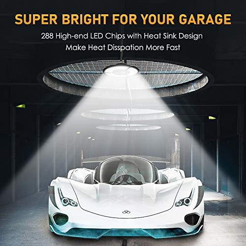 Bedee LED Garage Lights, 60W E26/E27 Deformable Light Bulb for Garage, 8000LM 6000K Garage Ceiling LED Light Fixtures with 3 Adjustable LED Panels Fits, Triple Glow Lights for Garage and Large Area
