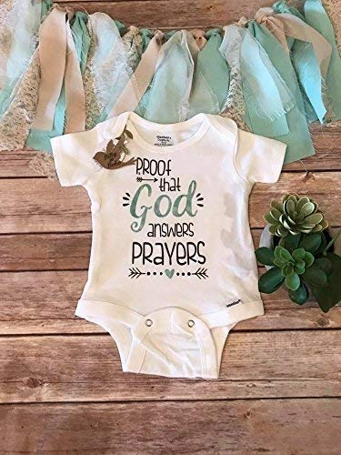 801a64186f847 Amazon.com: Proof That God Answers Prayers Onesie®, Worth the Wait, Baby  Shower Gift, Religious Baby Gift,Unisex Baby Clothes,IVF Pregnancy  Announcement: ...