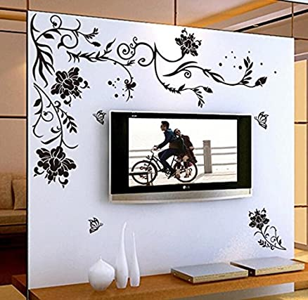 Syga U0027Black Butterfly Floweru0027 Wall Sticker (PVC Vinyl, 61 Cm X 5 Part 54