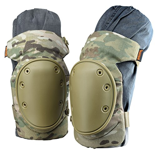 VUINO Professional Advanced Military Camo Tactical Knee Pads for Army, Paintball, Hunting and Anyother Outdoor Sports (Camo Green)