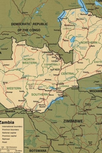 A Map Zambia in Africa Journal: Take Notes, Write Down Memories in this 150 Page Lined Journal