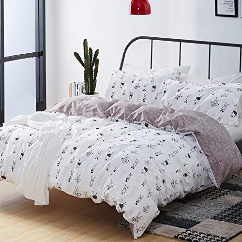 (karever Cartoon Rabbit Duvet Cover Queen Kids Cotton Bedding Sets Full Camouflage Glasses Bunny Eat Grass Comforter Cover Set for Boys Girls)