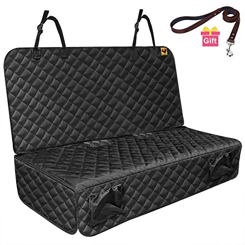 (Bark Lover Waterproof Car Bench Seat Protector for Dog Hair and Kids - Heavy Duty Nonslip Chemical-Free Rear Seat Cover Latch Compatible - Dog Seat Covers Fit Most Cars, Trucks, SUVs)