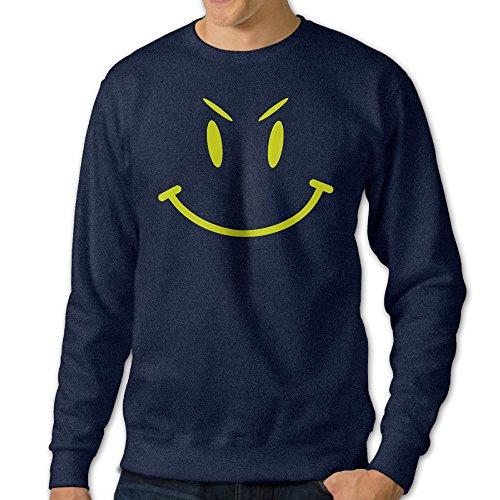 ALIPAPA Men's Long Sleeve Cute Evil Smiley Face Hoodie - Navy Size L