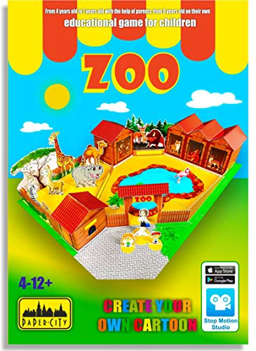 Paper City Zoo Educational Toy for Kids Age 4-12 Years Old&Up - Learning Games and Crafts Activity for Boy & Girl - DIY Gift Paper Animal Model Play Kit