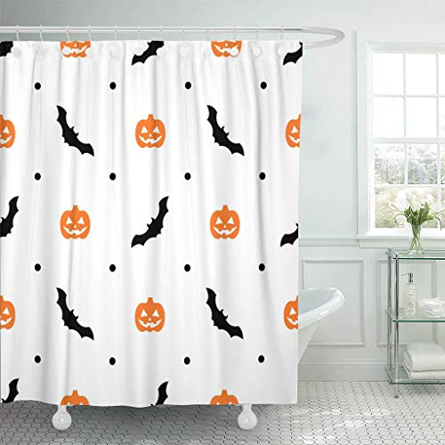 Emvency Fabric Shower Curtain Curtains with Hooks Autumn Halloween Pattern with Orange Pumpkins and Bats on White Black Cartoon Carving Celebration Creature 72