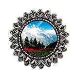 GiftJewelryShop Ancient Style Silver Plate Travel German Alps Leaves Cameo Pins Brooch