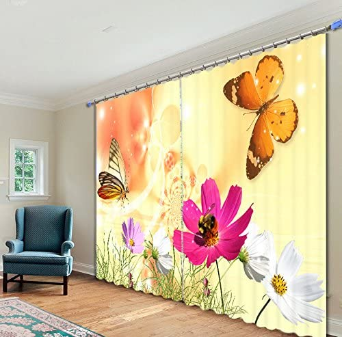 Newrara Vivid Butterfly and Colorful Flowers Printed 3D Curtain 2 Panels