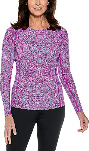 Coolibar UPF 50+ Women's Long Sleeve Hightide Swim Shirt - Sun Protective (X-Large- Violet Bold Mosaic)