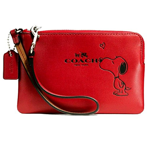 Coach Limited Edition X-Peanuts Snoopy Corner Zip Wristlet Small Purse Cell Phone Holder (red)