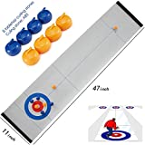 Rettebovon Tabletop Curling Game for Kids Family Game Adults vs The Kids Compact Curling Board Game Portable Mini Table Games