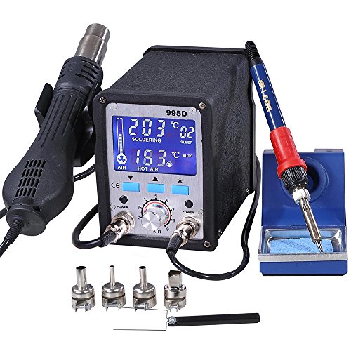 2in1 995d Lead-Free Soldering Station Iron Station SMD Rework Station Digital Welding Tool ESD Plcc BGA Repair Tool by Yescom