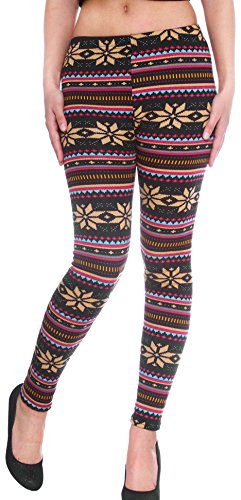 Women/girls Leggings Warm Tights for, Snowflakes Pattern, Striped, Footless, Multi-colored,Large