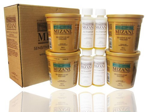 Sensitive Scalp Rhelaxer Kit by Mizani for Unisex - 12 Pc Kit 4 x 7.5oz Sensitive Scalp Rhelaxer Base, 4 x 2oz Sensitive Scalp Activator, 4 Wooden - Sensitive Scalp Mizani