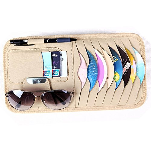Car Sun Visor Sunshade CD DVD VCD Disc Sleeve Wallet PU Leather Storage Case Holder with Glasses and Cards Organizer Clips Beige Color