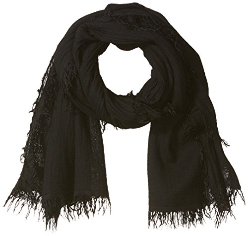 s Viscose and Cashmere Fabric Scarf, Black, ONE SIZE ()