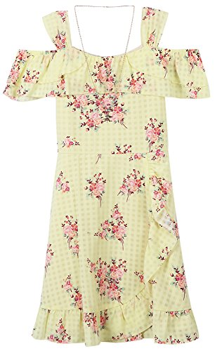 Speechless Girls' Big Shoulder Dress, Yellow/Pink, 12 -