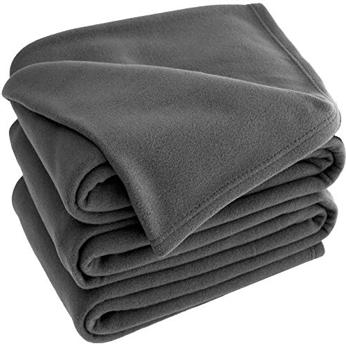 Bare Home Polar Fleece Cozy Bed Blanket - Hypoallergenic Premium Poly-Fiber Yarns, Thermal, Lightweight Blanket (King, Grey) ()