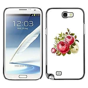 MOBMART Carcasa Funda Case Cover Armor Shell PARA Samsung Note 2 N7100 - Strawberry Colored Flowers