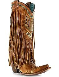 Corral Women's Aztec Long Fringe Cover Tan Cowboy Boots