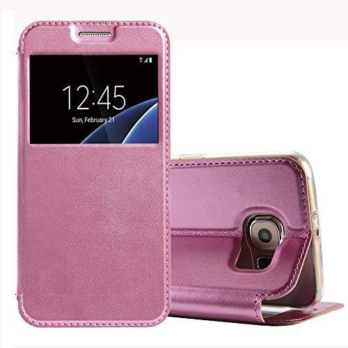 Galaxy S7 Flip Case, Tomplus S7 Case [Book Fold] Leather Galaxy S7 Cover [Flip Cover] with Fold able Stand, Leather Flip Window View case for Samsung Galaxy S7 (pink) Sales