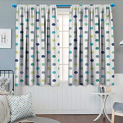 Vintage Jade Green (Anhounine Polkadot,Blackout Curtain,Polka Dots Retro Classy Vintage Fabric Pattern Design Style,Waterproof Window Curtain,Apple Green Dark Blue Jade Green,W63 x L72 inch)