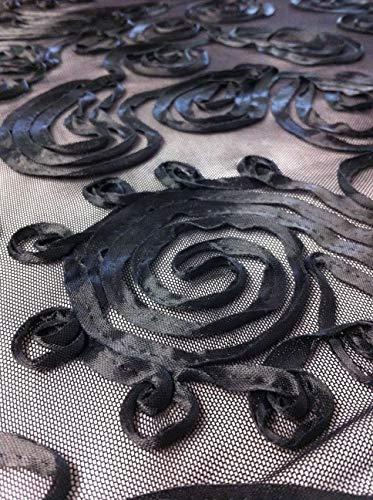 Black Silky Charmeuse Swirl Pattern on Sheer Stretch Nylon Spandex Mesh Fabric