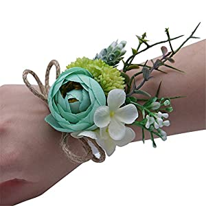 MOJUN Tea Rose Bridal Wristband Wrist Flower Corsage for Prom Party Wedding, Pack of 4, Turquoise 120