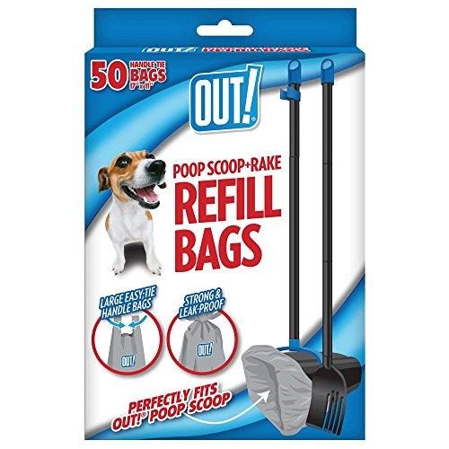 in & Out Dog Poop Bags Refill for Poop Scoop & Rake - 50Ct (Out Waste Bin)