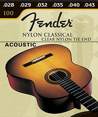 Fender 100 Clear, Nylon Classical Tie Guitar Strings by Fender Musical Instruments Corp.