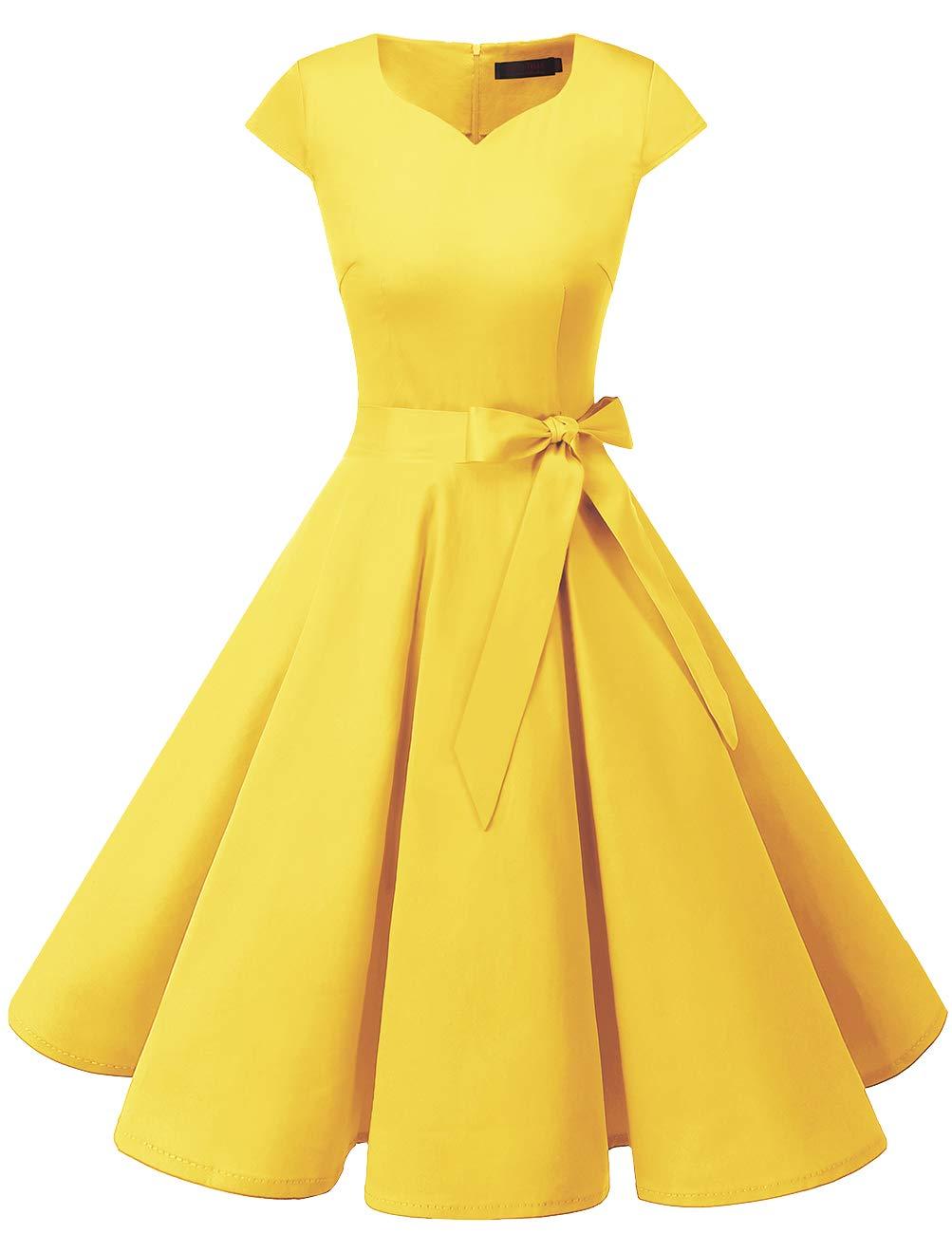 DRESSTELLS Retro 1950s Solid Color Cocktail Dresses Vintage Swing Dress with Cap-Sleeves Yelllow M by DRESSTELLS