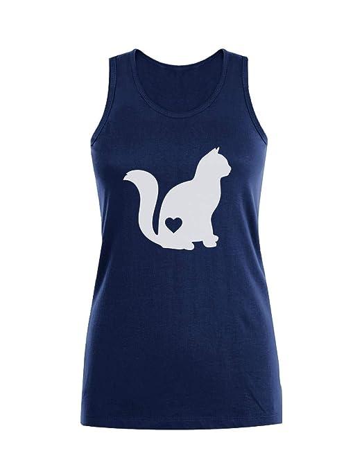 Camiseta sin Mangas para Mujer - Silueta de Gato - Regalo para Las Amantes de los Gatos: Amazon.es: Ropa y accesorios