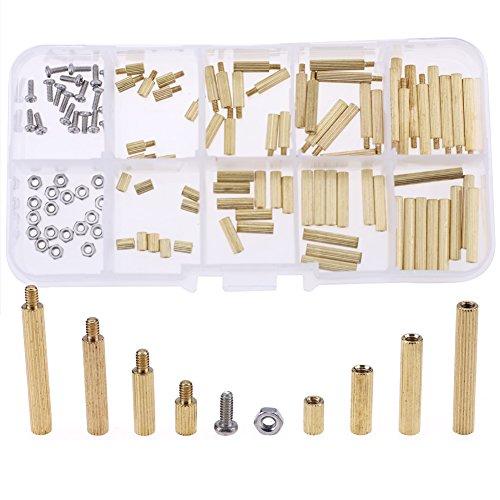Hilitchi 120pcs M2 Male Female Brass Spacer Standoff Screw Nut Assortment Kit(Brass M2)