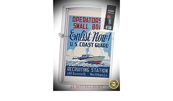 Zippo 29598 Coast Guard Enlist Now War Poster Chrome Lighter FLINT PACK