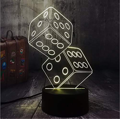 tfqddp Fun Dice Poker Playing Cards Game Party 3D Night Light Led Table Desk Sleep Lamp Living Room Decor Toy Christmas Birthday Gift ()