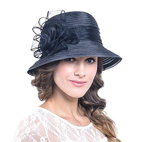 Wimdrem Women Kentucky Church Wedding Derby Hat Tea Party Floral Dress Hat S051-ZM(Black) (Womens Fashion Derby)