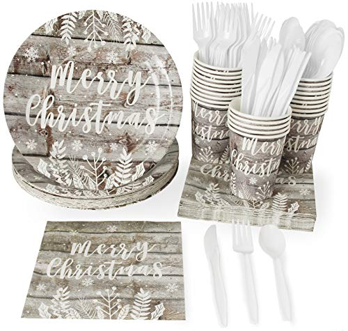 Christmas Disposable Dinnerware Set - Serves 24 - Festive Holiday Party Supplies, Vintage Wood Panel Merry Christmas Design, Includes Plastic Knives, Spoons, Forks, Paper Plates, Napkins, Cups (Merry Products Log)