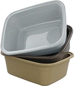 Pekky Plastic Dish Pan, 12 Quart, 3-Pack