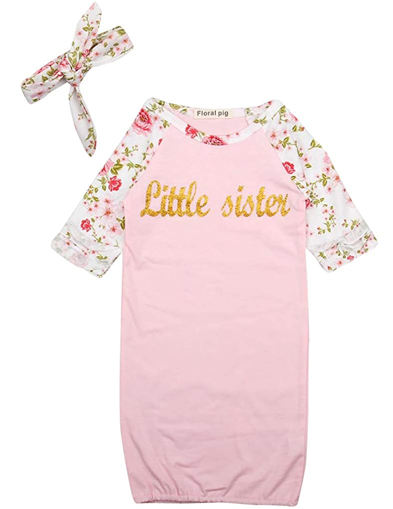 18c21f1bf Amazon.com: DPSKY Newborn Baby Girls Little Sister Printed Wearable Sleeping  Bag with Headband 2 Pcs Kids Long Sleeve Nightgowns Pink: Clothing