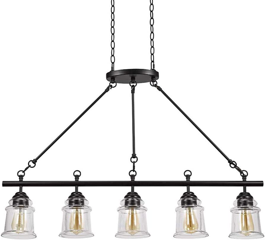 Stone & Beam Modern Farmhouse Island Hanging Ceiling Chandelier Fixture With 5 LED Vintage Light Bulbs And Glass Shades - 24 x 24 x 29 Inches, 72 Inch Cord, Dark Bronze