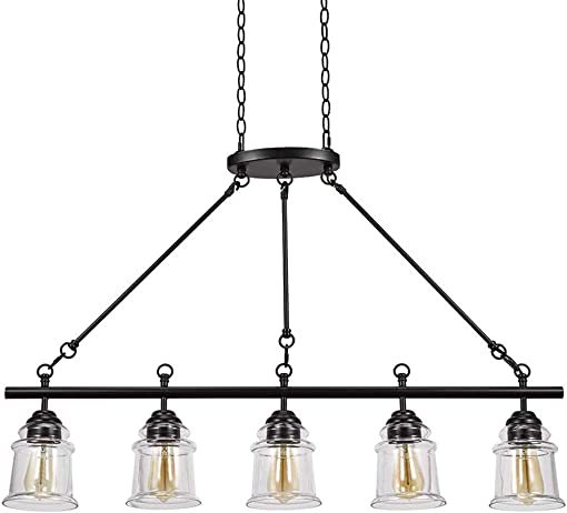 Amazon Brand Stone Beam Modern Farmhouse Island Hanging Ceiling Chandelier Fixture With 5 LED Vintage Light Bulbs And Glass Shades – 24 x 24 x 29 Inches, 72 Inch Cord, Dark Bronze